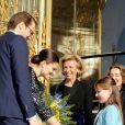 La princesse Victoria de Suède et son époux le prince Daniel lors de l'inauguration de l'exposition ''Carl Larsson, l'imagier de la Suède'', au Petit Palais à Paris le 6 mars 2014.