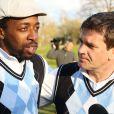 Sidney Govou et Hervé Mathouxlors de la première Footgolf Cup 2014 au golf de Feucherolles en France le 5 mars 2014.