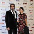 """""""Eric Cantona et sa femme Rachida Brakni lors de la cérémonie du Golden Foot Award à Monaco le 17 Avril 2012"""""""
