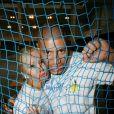 """Tatiana Laurens-Delarue et Xavier Delarue lors d'une journée avec l'association """"Enfant Star & Match"""" au Tennis Club de Paris le 17 mars 2014"""