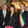 Paolo Bulgari, Jean Christophe Babin, Carla Bruni-Sarkozy, Ignazio Marino, Adrien Brody et Nicola Bulgari assistent au 130e anniversaire de la maison Bulgari le 20 mars 2014 à Rome
