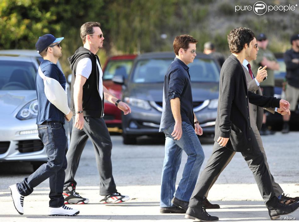 Jeremy Piven, Jerry Ferrara, Adrian Grenier, Kevin Connolly et Kevin Dillon sur le tournage du film Entourage à Los Angeles le 7 mars 2014