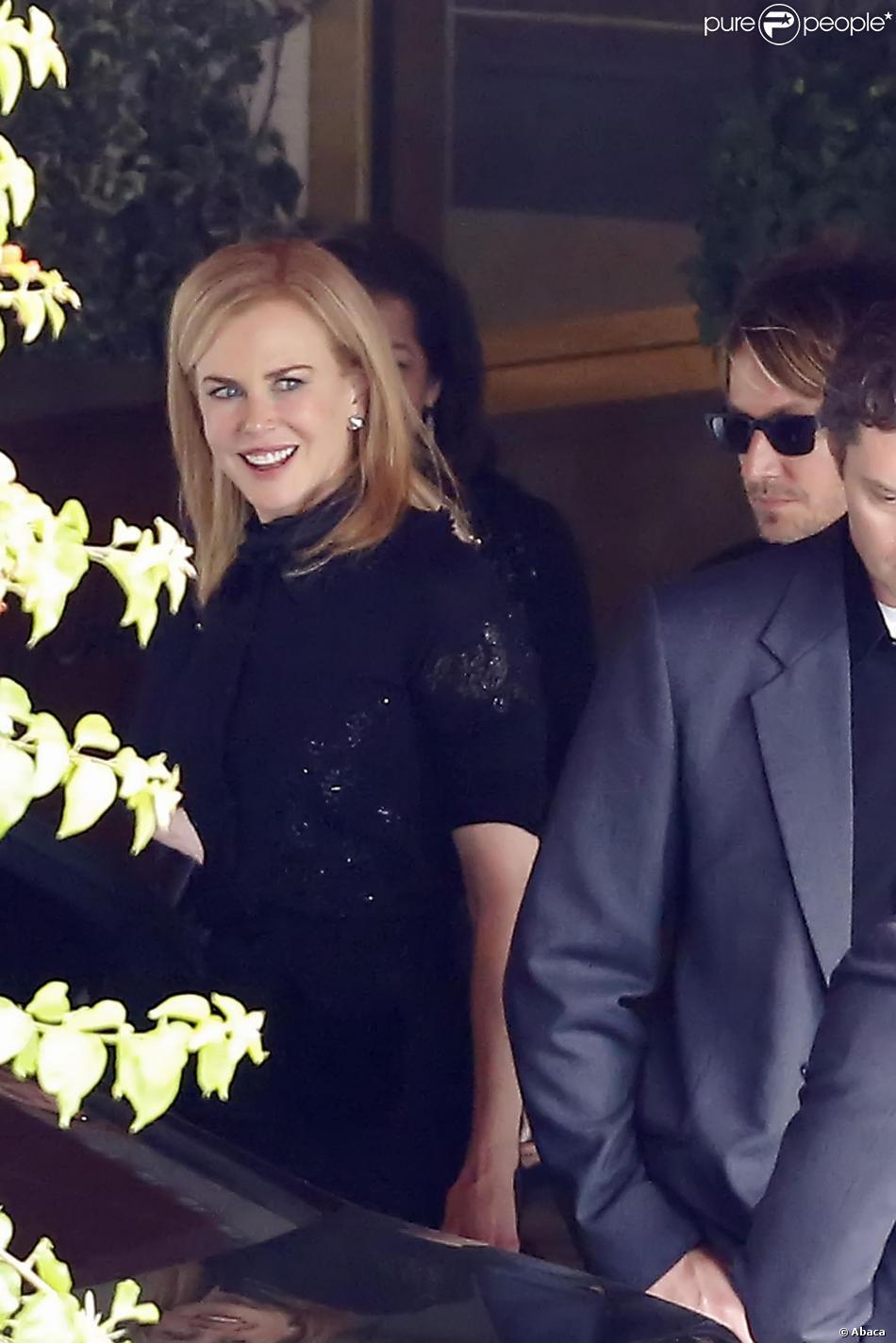 Nicole Kidman et son mari Keith Urban lors des funérailles de L'Wren Scott à Los Angeles, le 25 mars 2014.