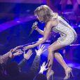 Kylie Minogue sur scène lors de la soirée Echo Music Awards à Berlin, le 27 mars 2014.