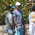 Exclusif - George Clooney en vacances à Cabo san Lucas le 11 avril 2014. Avec des amis, l'acteur américain a joué au volley-ball.