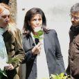 Anne Hommel et Anne Sinclair aux obsèques de Guy Carcassonne au cimetiere de Montmartre à Paris, le 3 juin 2013.