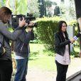 Amanda Lear et son compagnon Marco Piraccini se promènent dans les rues de Rome. Le 24 avril 2014  Sighting Amanda Lear and her friend Marco Rome Italy 24-04-201424/04/2014 - Rome