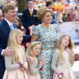 Le roi Willem-Alexander, la princesse Catharina-Amalia, la princesse Ariane, la reine Maxima et la princesse Alexiades Pays-Bas lors de la célébration du King Day à Amstelveen, le 26 avril 2014 à l'occasion des 47 ans du roi Willem-Alexander.26/04/2014 - Amstelveen