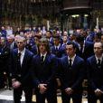 Victor Valdès, Carles Puyol, Xavi Hernandez et Andrès Iniesta lors des obsèques de Tito Vilanova l'ex-entraîneur du Barça, en la cathédrale de Barcelone le 28 avril 2014