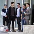 Jerry Ferrara, Adrian Grenier, Kevin Dillon, Kevin Connolly et Jeremy Piven sur le tournage du film Entourage. Los Angeles, le 7 mars 2014.