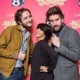 David (Palmashow), Florence Foresti et Grégoire (Palmashow) à la soirée Palmashow organisée par D8, le mardi 29 avril 2014.