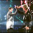 Exclusif - Répétitions entre Patrick Bruel et Johnny Hallyday pour le concert de Johnny au stade France. Le 4 septembre 1998.