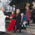 La princesse Märtha-Louise, son époux Ari Behn et leurs filles les princesses Maud, Leah et Emma lors de la messe de Noël à Oslo, le 25 décembre 2013 à l'église d'Holmenkollen