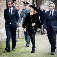 Le prince Haakon de Norvège et la princesse Märtha-Louise avec son époux Ari Behn lors de l'hommage au défunt prince Friso d'Orange-Nassau le 2 novembre 2013 à Delft, aux Pays-Bas.