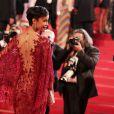 Sonia Rolland (Boucles d'oreilles, bague et bracelet Montblanc collection Princesse Grace de Monaco Pétales de Rose en or blanc et diamants) lors de la montée des marches du film Timbuktu au 67e Festival de Cannes, le 15 mai 2014.