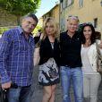 Exclusif - Les humoristes Jean-Marie Bigard et Franck Dubosc posent avec leurs épouses Lola et Danièle - Le 1er Trophée du Sud des Alpes à Mougins a eu lieu sur la Côte d'Azur du 2 au 4 mai.