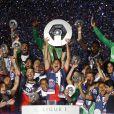 L'équipe du Psg célèbre le titre de Champion de France 2014 après le match Psg-Montpellier au Parc des Princes à Paris, le 17 mai 2014