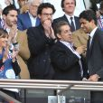 Anne Hidalgo, Nicolas Sarkozy et Nasser al-Khelaïfi assistent au match Psg-Montpellier au Parc des Princes à Paris, le 17 mai 201417/05/2014 - Paris