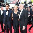 Mélita Toscan du Plantier et Pascal Greggory lors de la montée des marches de The Homesman à l'occasion du 67e Festival de Cannes, le 18 mai 2014.