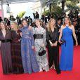 Lou De Laâge, Mélanie Laurent, Joséphine Jappy, Isabelle Carré, Claire Keim (Robe de Jay Ahr et j-bijoux AMP Monaco) et Carole Franck à la montée des marches de Respire, à l'occasion du 67e Festival de Cannes, le 18 mai 2014.