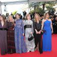 Lou De Laâge, Mélanie Laurent, Joséphine Jappy, Isabelle Carré, Claire Keim ( Robe de Jay Ahr et j-bijoux AMP Monaco) et Carole Franck à la montée des marches de Respire, à l'occasion du 67e Festival de Cannes, le 18 mai 2014.