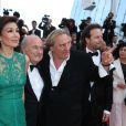 Sepp Blatter, Gérard Depardieu et Frédéric Auburtin à la montée des marches de The Homesman, à l'occasion du 67e Festival de Cannes, le 18 mai 2014.