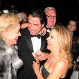 Sharon Stone, John Travolta et Kelly Preston à la soirée Roberto Cavalli sur son yacht sur le port de Cannes lors du 67e Festival de Cannes le 21 mai 2014.