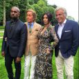 Kanye West, Valentino Garavani, Kim Kardashian et Giancarlo Giammetti lors du brunch de coup d'envoi du mariage de Kanye West et Kim Kardashian, au château de Wideville. Crespières, le 23 mai 2014.