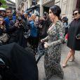 Kim Kardashian, sa fille North et sa mère Kris Jenner se rendent au château de Wideville. Paris, le 23 mai 2014.