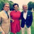 Valentino Garavani, Kris Jenner et Giancarlo Giammetti lors du brunch de coup d'envoi du mariage de Kim Kardashian et Kanye West au château de Wideville. Crespières, le 23 mai 2014.