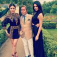Khloé Kardashian, Valentino Garavani et Kendall Jenner lors du brunch de coup d'envoi du mariage de Kim Kardashian et Kanye West au château de Wideville. Crespières, le 23 mai 2014.