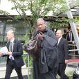 Andre Leon Talley arrive à l'aéroport du Bourget en provenance de Florence. Le 25 mai 2014.