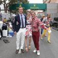 Pierre Casiraghi et sa compagne Beatrice Borromeo avec Eddie Jordan le 25 mai 2014 au Grand Prix de Monaco