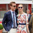 Pierre Casiraghi et sa compagne Beatrice Borromeo, complices jusqu'au bout des lunettes, ont profité le 25 mai 2014 du Grand Prix de Monaco