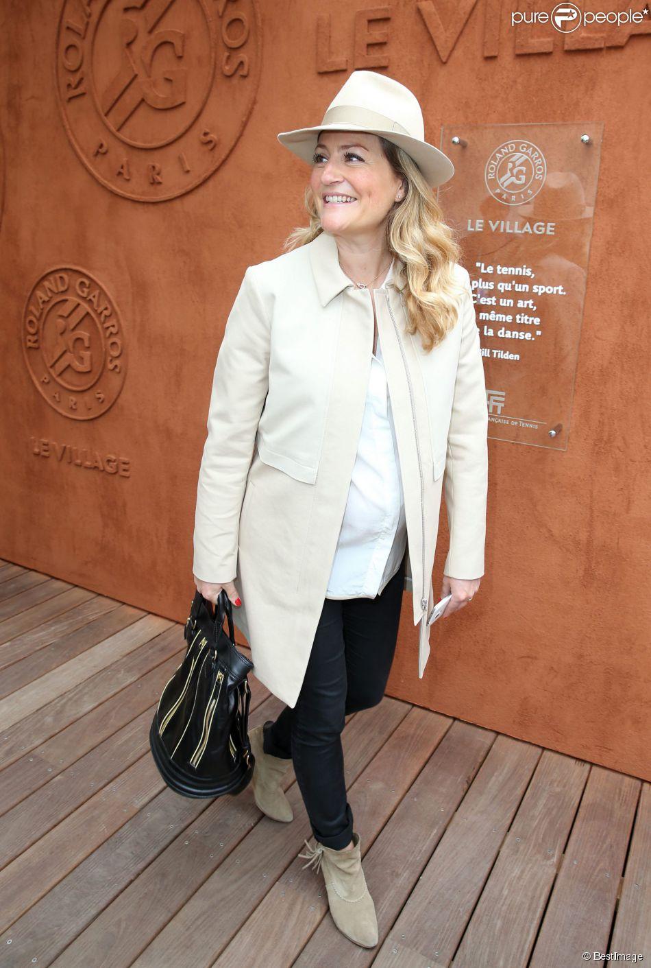 Astrid Bard, enceinte au village Roland-Garros lors des Internationaux de France à Roland Garros à Paris, le 28 mai 2014