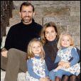 Felipe et Letizia d'Espagne avec leurs deux filles à Noël 2009 à Madrid.