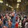 Image de la cérémonie d'inauguration du Parlement, dans la Chambre des Lords au Palais de Westminster, par la reine Elizabeth II, le 4 juin 2014. Le rendez-vous rituel au cours duquel la monarque présente l'agenda politique du gouvernement a été perturbé par le malaise d'un jeune page...