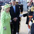 La reine Elizabeth II et le duc d'Edimbourg assistaient le 4 juin 2014, le même jour que l'inauguration du Parlement, aux cérémonies du 350e anniversaire d'une bataille des Royal Marines, à Londres.