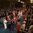 Image de la cérémonie d'inauguration du Parlement par la reine Elizabeth II, le 4 juin 2014 au palais de Westminster, à Londres. Le rendez-vous rituel au cours duquel la monarque présente l'agenda politique du gouvernement.