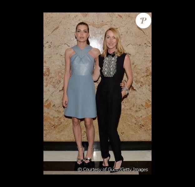 Charlotte Casiraghi et Frida Giannini lors d'une soirée Gucci à New York pour célébrer le lancement de la première ligne de maquillage de la maison. 4 juin 2014