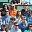 Amel Bent et son ami, Louise Monot, Sofia Essaïdi et son compagnon Adrien Galo lors des Internationaux de France de tennis de Roland-Garros à Paris, le 5 juin 2014.