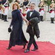 Gérard Holtz et sa femme Muriel Mayette-Holtz lors du banquet à l'Elysée donné en l'honneur de la reine Elizabeth II, Paris, le 6 juin 2014.