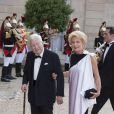 Jean-Bernard Raimond et sa femme Monique Raimond lors du banquet à l'Elysée donné en l'honneur de la reine Elizabeth II, Paris, le 6 juin 2014.