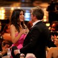 Sandra Bullock a reçu le prix 'Decade of Hotness', des mains de Matthew McConaughey, Keanu Reeves et Hugh Grant lors des Spike TV's 'Guys Choice 2014, à Los Angeles, le 7 juin 2014.