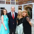 "Sophie McShera, le prince Albert II de Monaco, Joanne Froggatt et Lesley Nicol (Downton Abbey) - Cocktail dans la cour d'honneur du palais princier lors du 54ème festival de la Télévision de Monte-Carlo. Le 10 juin 2014  Cocktail at ""Palais Princier"" during the 54th Monte-Carlo TV Festival. On june 10th 201410/06/2014 - MONACO"
