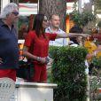 Flavio Briatore, ému au côté d'Elisabetta Gregoraci de voir son fils Nathan Falco prendre le volant d'une voiture de course dans les rues de Marina di Pietrasanta, le 7 juin 2014