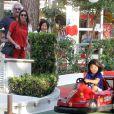 Flavio Briatore et Elisabetta Gregoraci ont admiré les talents de pilote de leur fils Nathan Falco dans les rues de Marina di Pietrasanta, le 7 juin 2014