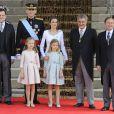 Mariano Rajoy, Jesus Posada et Pio García Escudero - Le roi Felipe VI, la reine Letizia d'Espagne et leurs filles, la princesse Leonor et l'infante Sofia, arrivent au parlement pour la cérémonie d'investiture à Madrid. Le 19 juin 2014.