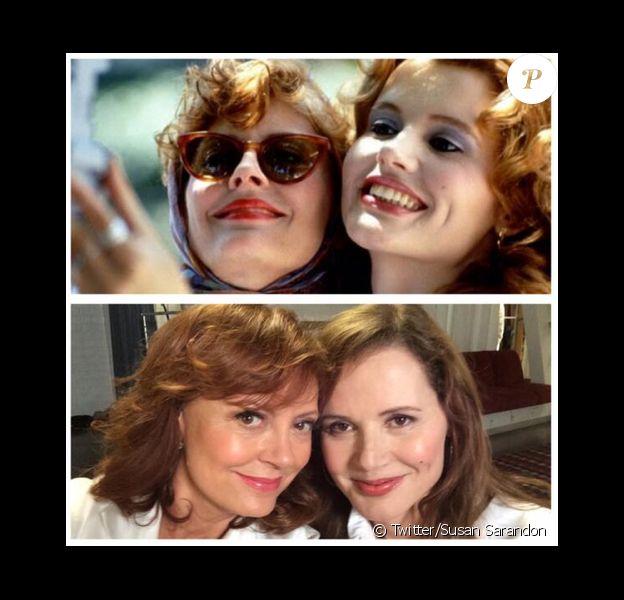 """Inventors of the #selfie at it again. #ThelmaAndLouise"""