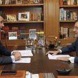Le roi Felipe VI d'Espagne reçoit le premier ministre espagnol Mariano Rajoy au palais Zarzuela à Madrid, le 20 juin 2014